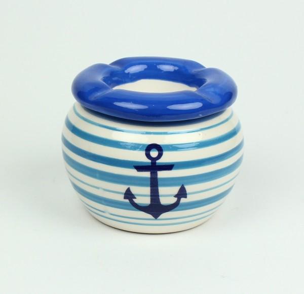 Maritimer Aschenbecher Anker blau weiß gestreift Ascher Ø 9cm