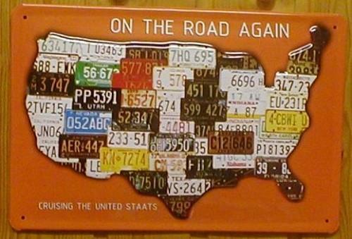 Blechschild ON THE ROAD AGAIN USA Route 66 Landkarte Nostalgieschild