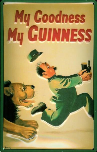 Blechschild Guinness Bier Löwe Verfolgung Beer Nostalgie Schild Werbeschild