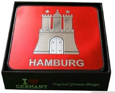 Hamburg Untersetzer in Geschenkbox Set 6-teilig Souvenir Metallprägung