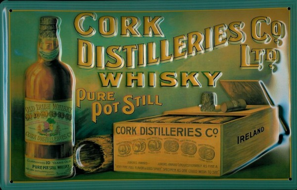 Blechschild Cork Distilleries Irish Whisky retro Schild Nostalgie Werbeschild