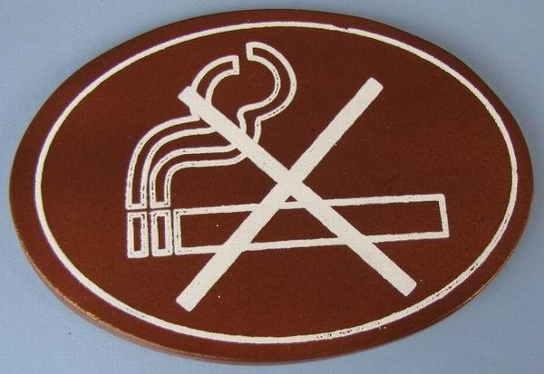 Ovales Holz - Türschild Rauchen verboten Piktogramm 7x10 cm dunkles Holzschild