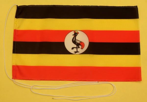 Tischflagge Uganda 25x15 cm optional mit Holz- oder Chromständer Tischfahne Tischfähnchen