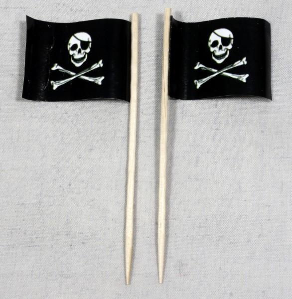 Party-Picker Flagge Pirat (1) Totenkopf Papierfähnchen in Spitzenqualität 50 Stück Beutel