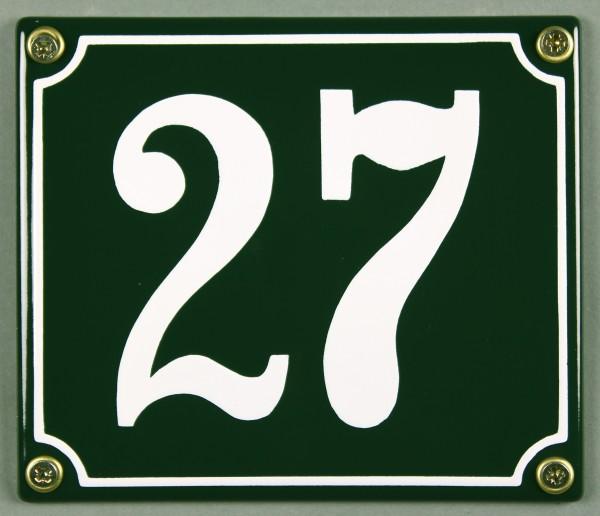 Hausnummernschild 27 grün 12x14 cm sofort lieferbar Schild Emaille Hausnummer Haus Nummer Zahl Ziffe