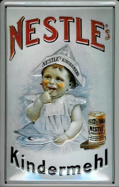 Blechschild Nestle Kindermehl Kind Papierhut retro REklame Schild