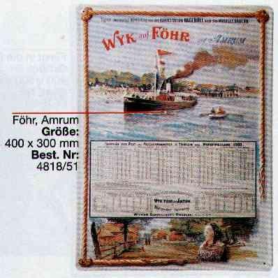 Blechschild Wyk auf Föhr / Amrum Fahrplan Dampfer Schiff Schild Nostalgieschild