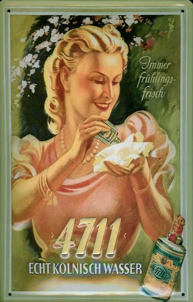 Blechschild 4711 Immer Frühlingsfrisch (2) Lady Kosmetik kölnisch Wasser Schild Werbeschild Eau de C