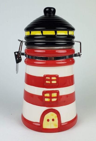 Vorratsdose Leuchtturm rot weiß Keramik Kaffeedose Dose Vorratsbehälter