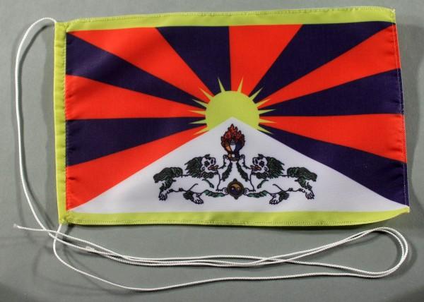 Tischflagge Tibet 25x15 cm optional mit Holz- oder Chromständer Tischfahne Tischfähnchen