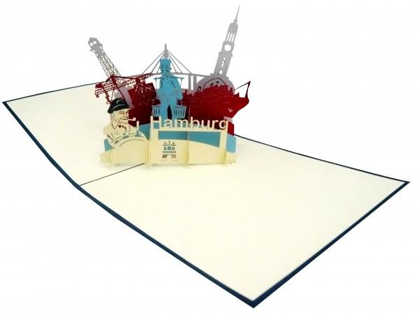 3D Pop-Up Karte Hamburg Stadtkarte