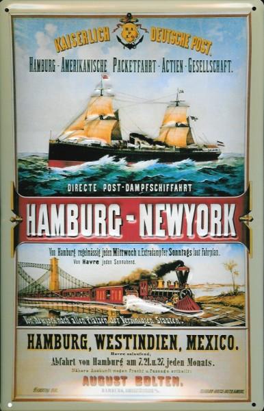 Blechschild Hamburg New York Postdampfer Post Dampfsegler Dampfer Schiff Schild Nostalgieschild