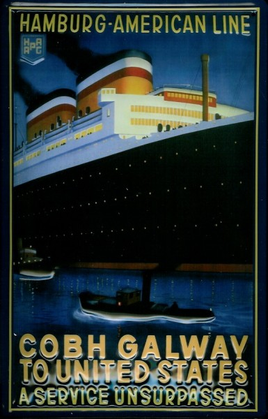 Blechschild Hapag Lloyd Hamburg American Line Cobh Galway Dampfer Schiff Schild Nostalgieschild