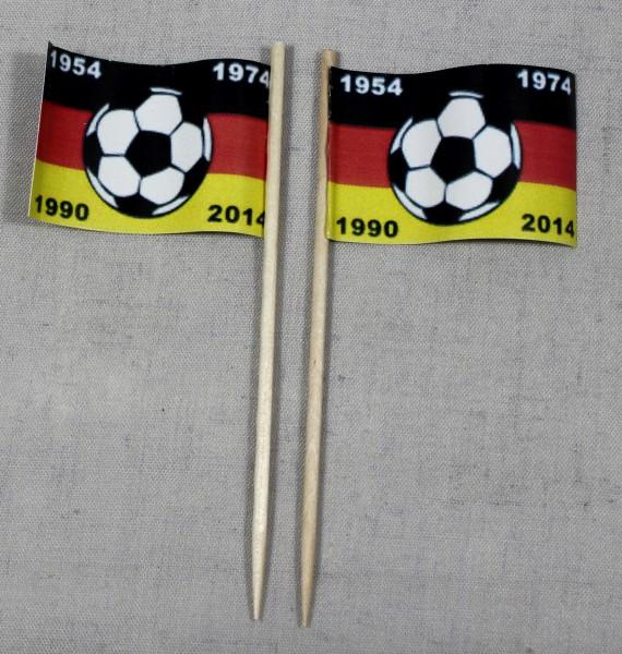 Party-Picker Flagge Deutschland 4x Fußball Weltmeister Papierfähnchen in Spitzenqualität 50 Stück Be