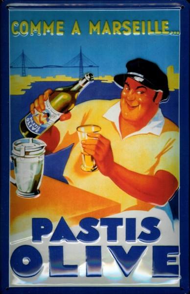 Blechschild Pastis Olive Aperitif Marseille Schild retro Werbeschild