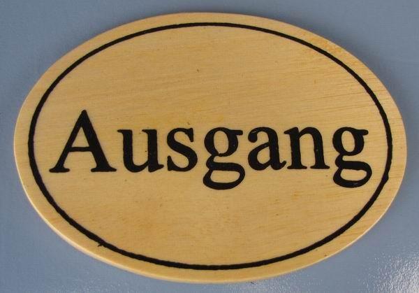 Ovales Holz - Türschild Ausgang 7x10 cm helles Holzschild