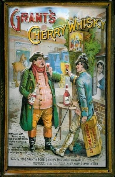 Blechschild Grant's Cherry Whisky Kirschwhisky retro Schild England Werbeschild