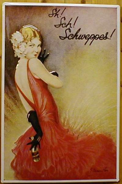 Blechschild Sch! Schweppes Tonic Water retro Schild Nostalgie Werbeschild