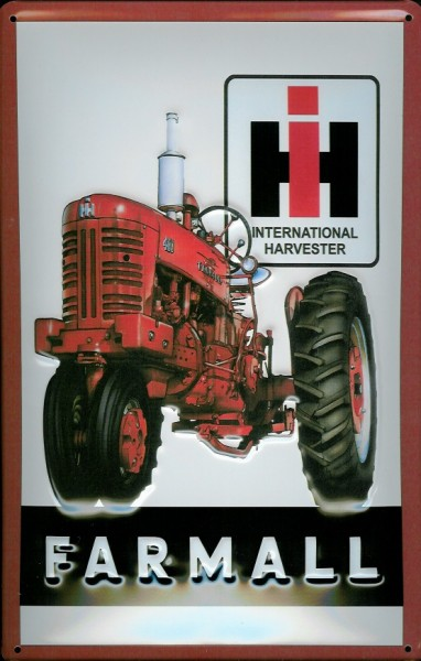 Blechschild International Harvester IH Farmall Traktor Nostalgieschild Schild retro Trecker