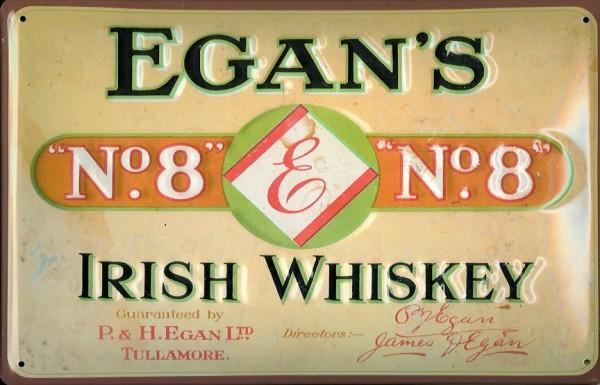 Blechschild Egan s Irish Whiskey Tullamore Irland Whisky Schild Kneipenschild
