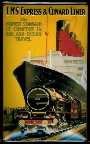 Blechschild LMS Expess & Cunard Liner Dampfschiff Eisenbahn Dampfer Schiff Schild Nostalgieschild