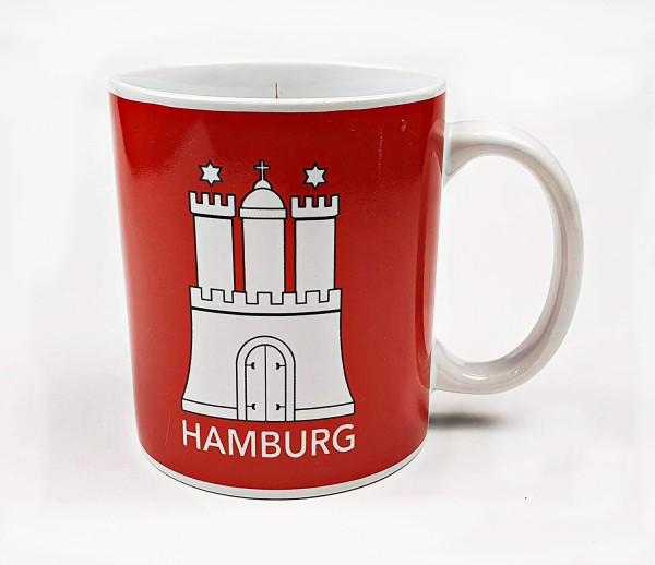 Hamburg Becher Skyline mit Hamburger Wappen rot Kaffeebecher Kaffeetasse Kaffee Pott
