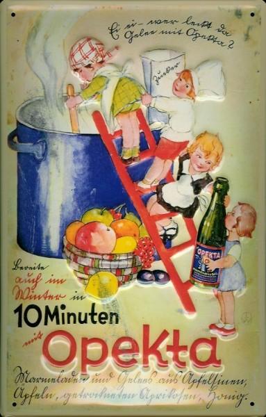 Blechschild Opekta Kinder Kochtopf retro Schild Küche Dekoration