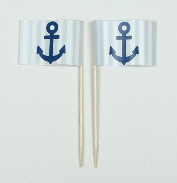 Party-Picker Flagge Anker blau/weiß Papierfähnchen in Spitzenqualität 50 Stück Beutel