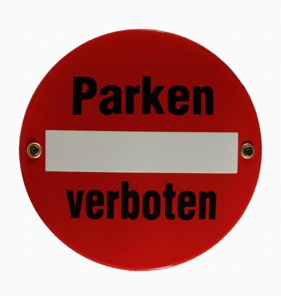 Emaille Schild Parken verboten Verkehrsschild Verkehrszeichen Emailleschild Verbotsschild Warnschild