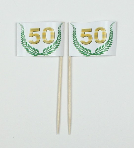 """Party-Picker Flagge Jubiläumskranz """"50"""" Jubiläum Papierfähnchen in Spitzenqualität 50 Stück Beutel"""