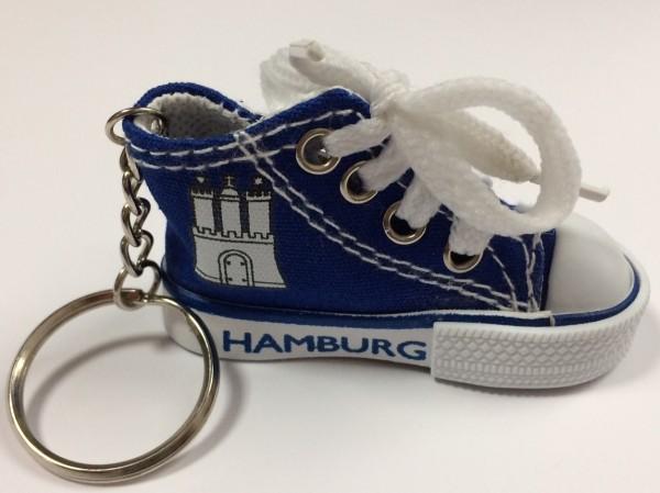 Hamburg Schlüsselanhänger Hamburger Sneaker Blau Schuh Mitbringsel Souvenir Deko