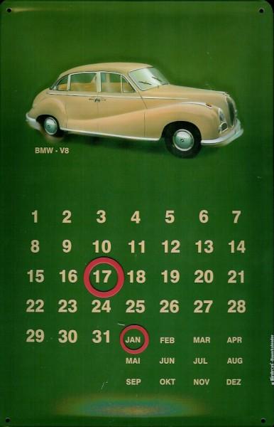 Blechschild BMW - V8 Oldtimer Schild Magnet Kalender Nostalgieschild Dauerkalender