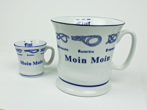 Moin Moin Kaffeepott + Moin Moin Pöttchen mit Seemannsknoten hoch Kaffeebecher Kaffeetasse Kaffee