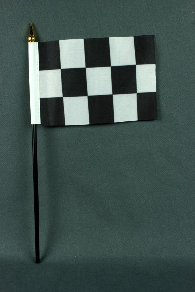 Kleine Tischflagge Zielflagge Motorsport 10x15 cm optional mit Tischfähnchenständer