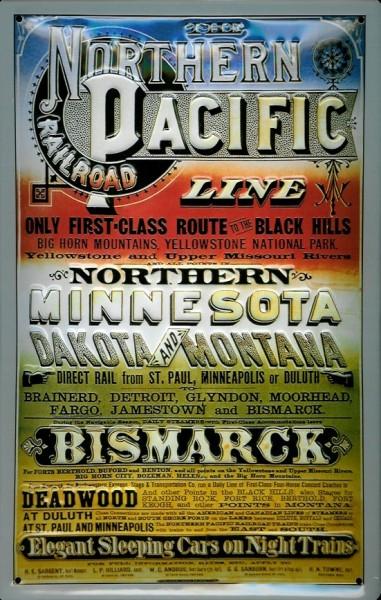 Blechschild Northern Pacific Eisenbahn USA Schild Nostalgieschild
