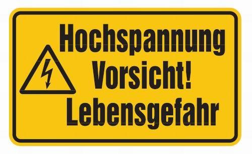 Aluminium Schild Hochspannung Vorsicht! Lebensgefahr 200x300 mm geprägt