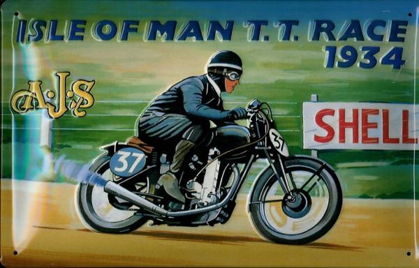 Blechschild Isle of Man Motorcycle Motorrad Rennen 1934 Shell Nostalgieschild Schild