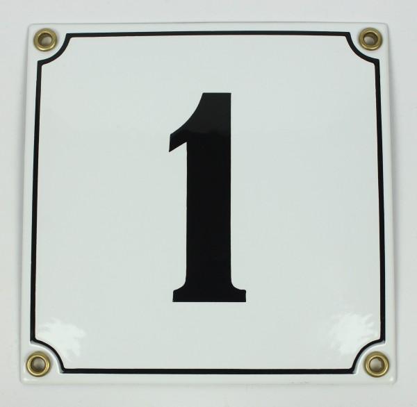 1 weiß Clarendon 14x14 cm sofort lieferbar Schild Emaille Hausnummer