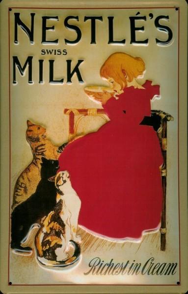 Blechschild Nestle swiss Milk Cream Katzen Milch Kater Schild retro Werbung