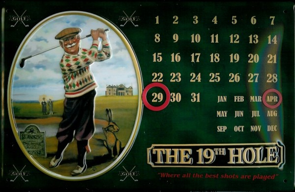 Blechschild Nostalgieschild The 19th Hole Golf Magnet Kalender
