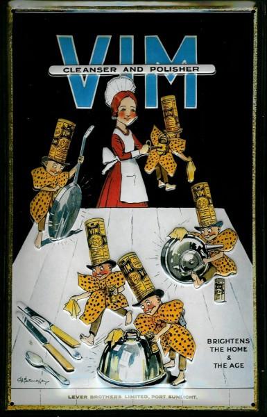 Blechschild Vim cleanser & polisher Scheuerpulver Schild retro Werbeschild Nostalgieschild