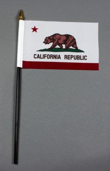 Kleine Tischflagge Kalifornien California 10x15 cm optional mit Tischfähnchenständer