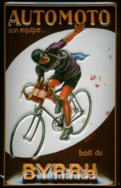 Blechschild Nostalgieschild Byrrh Automoto Radrennen Fahrrad