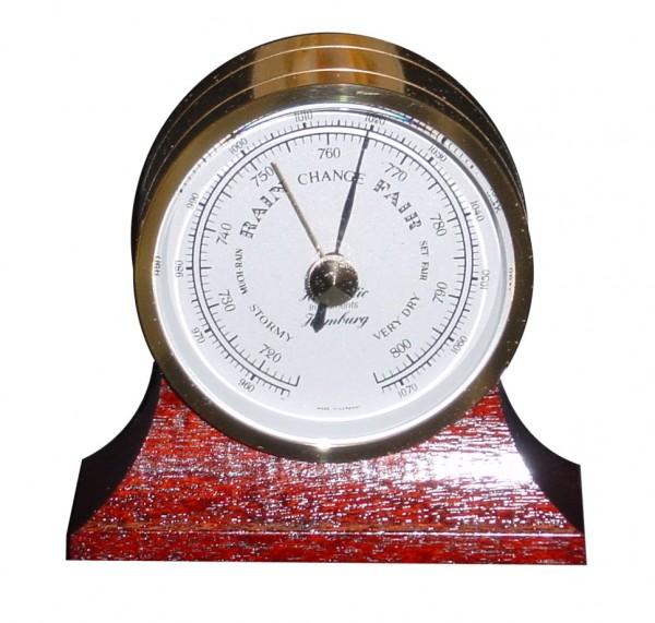 Schiffs Barometer 64 mm Messing mit Holzsockel