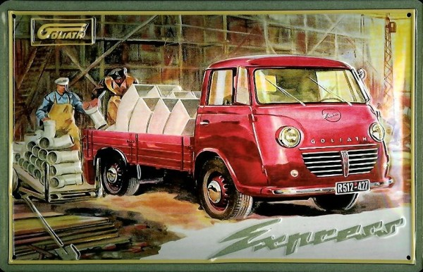 Blechschild Borgward Goliath LKW Pritschenwagen Lieferwagen Schild Nostalgieschild