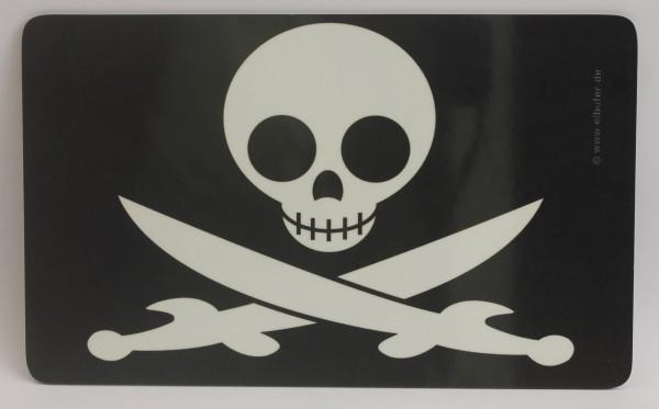Frühstücksbrett Pirat Totenkopf Schwerter Brettchen Frühstück Brett 23,5 x 14,3 x 0,2 cm