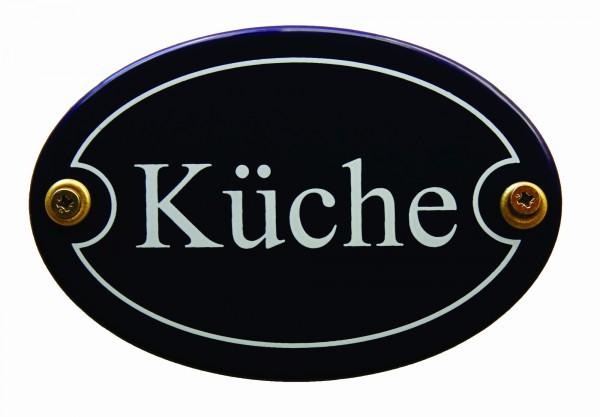 Emaille Türschild Küche blau oval Schild