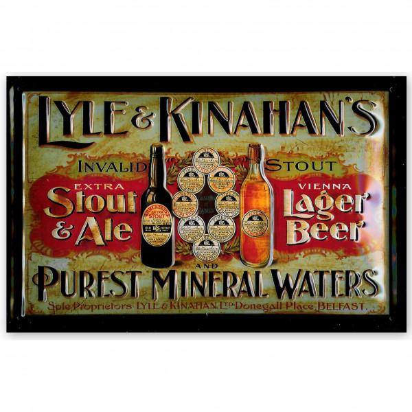 Blechschild Lyle & Kinahans Stout Ale Bier Beer Mineralwasser retro Schild Nostalgieschild