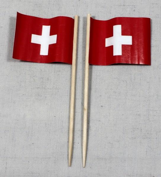 Party-Picker Flagge Schweiz rechteckig Papierfähnchen in Spitzenqualität 50 Stück Beutel