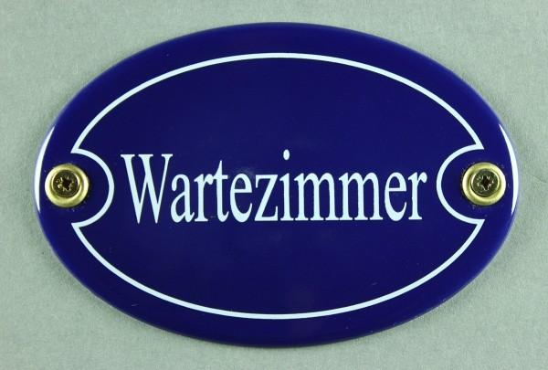 Emaille Türschild Wartezimmer blau oval Schild Emailleschild Metallschild Blechschild